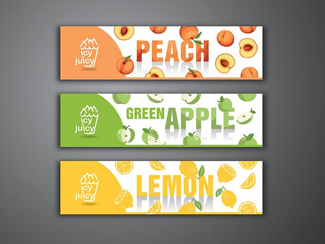 icy & juicy Slush Machine Flavour Stickers